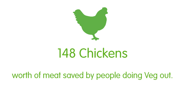 148 chickens worth of meat saved by people doing Veg out