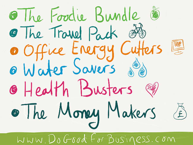 DoAction packs; the foodie bundle, the travel pack, office energy cutters, water savers, health busters, the money makers