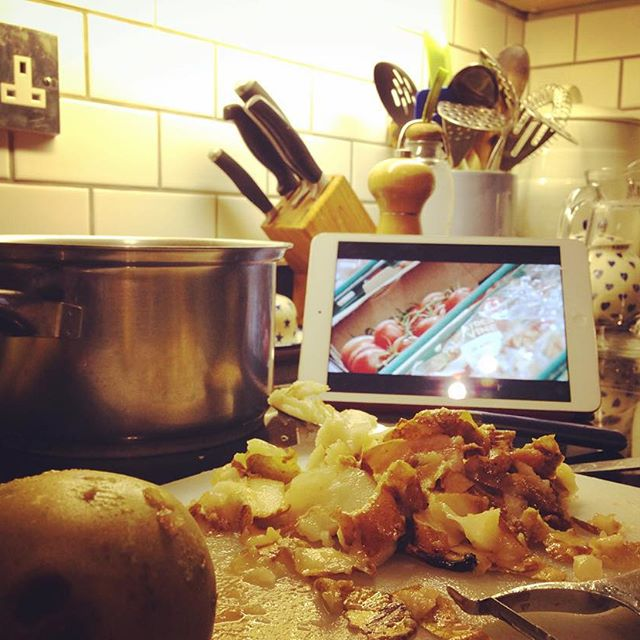Watching @hughfernley's #wastenot whilst cooking up some of our squished @riverford pears. Feeling virtuous.