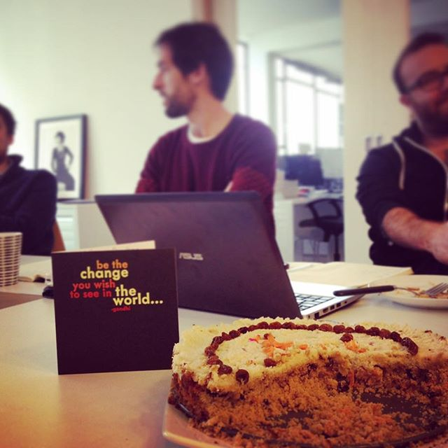 Kicking the week off with a very on-brand Birthday: a sugar free vegan cake and Gandhi quote card. Thanks team!