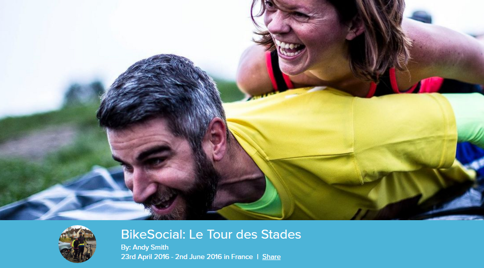 Andy Smith is doing BikeSocial  Le Tour des Stades on Do Nation