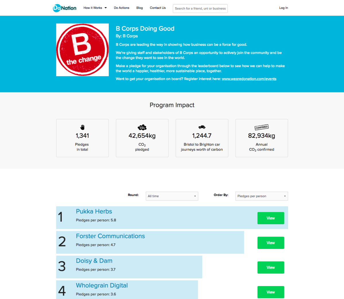 B Corp Hub page on Do Nation